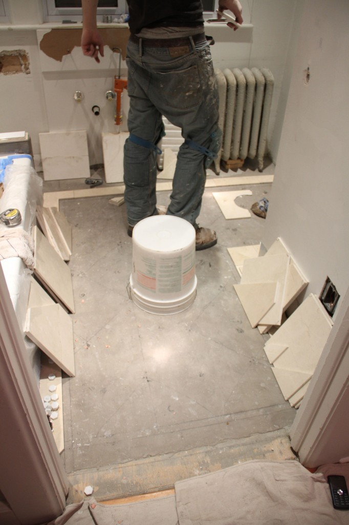 After the dry-fit, J.J. had to carefully label every tile, and pull them up off the floor so he could set them.