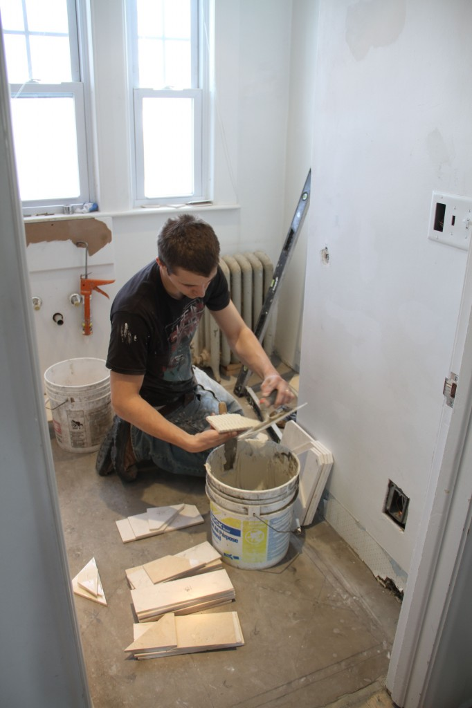I was so excited to see tile actually being adhered to the floor. I think J.J. was pleased about that, too.