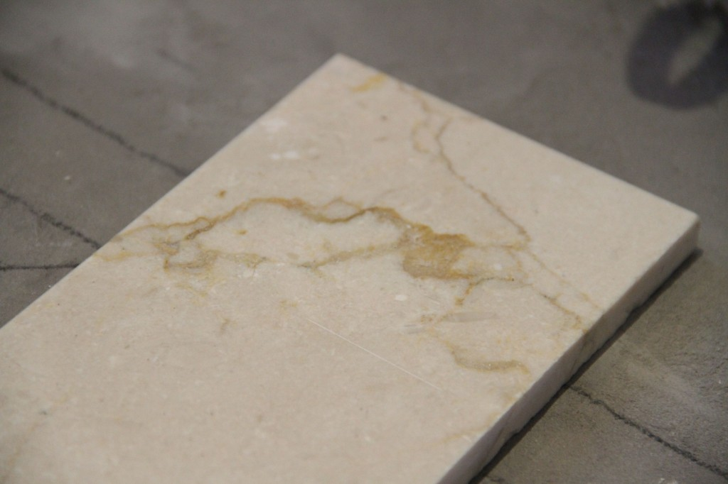 This is the crema marfil marble we ended up finding on super sale at ASN Tile. This room is absolutely about making the very best design we can with the best materials we could afford.
