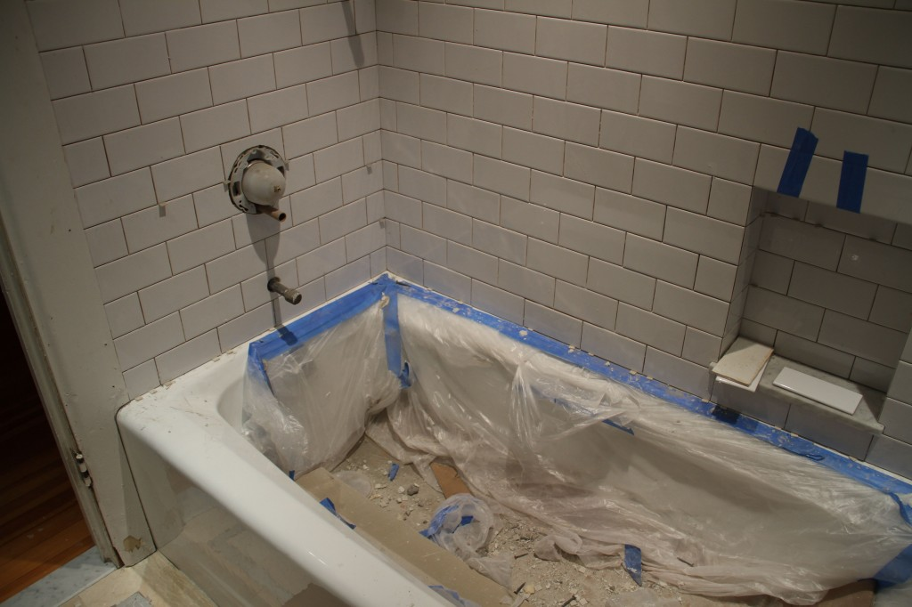 And, so the tub needs a little attention. But, check out how well all the valves lined up in the tiles!