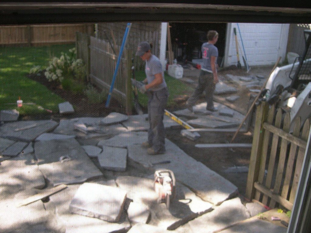 The ladies worked out the puzzle, and made us a beautiful, natural stone patio. We intentionally used Ashfield stone knowing that one day we'd use it in the kitchen. We love it in both places.