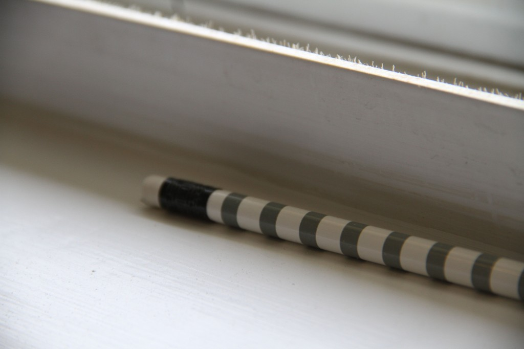 This pencil may or may not have influenced my design. Actually, it may just represent what I like: neutrals, graphic patterns, classic lines, and a touch of the unexpected.