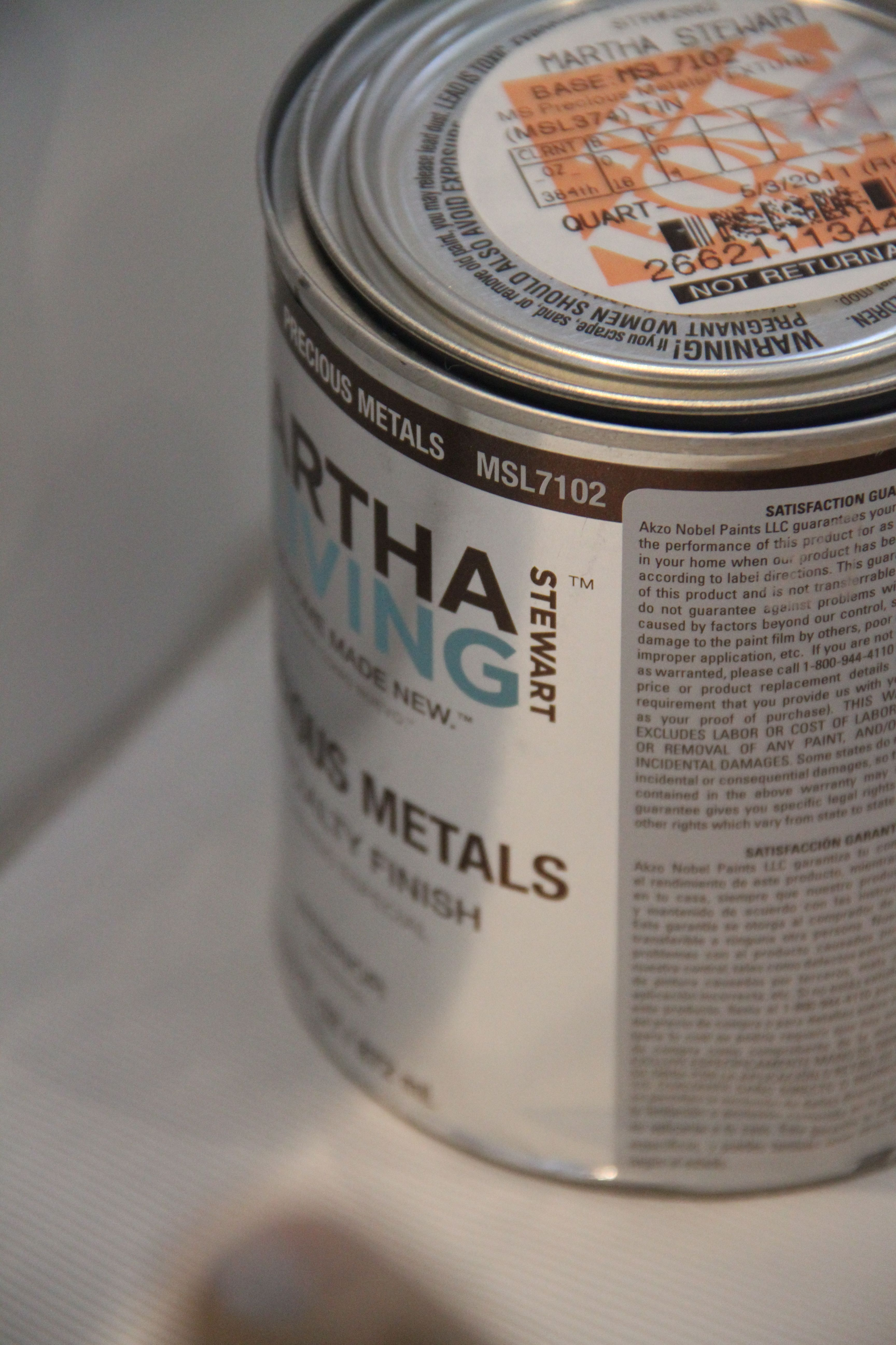 Originally I thought I could use the Benjamin Moore glaze in silver, but it was too, well, not right for this sort of application. I ended up with Martha's Precious Metals line in Polished Tin.