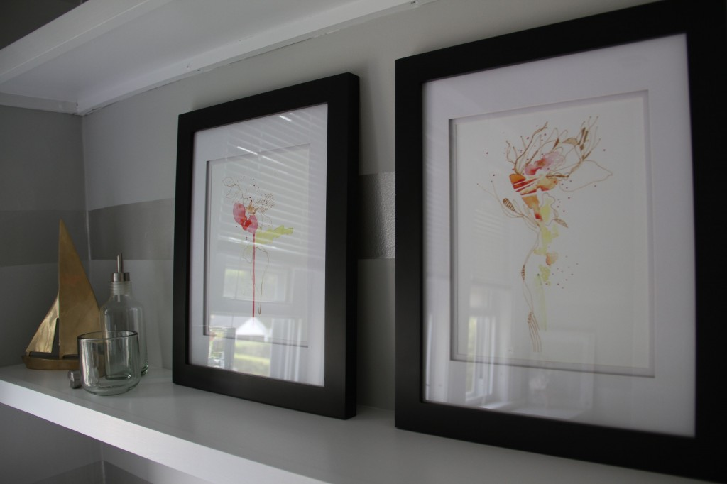 Limited edition prints, also via etsy. Frames via Michael's. A lovely view for the gents.