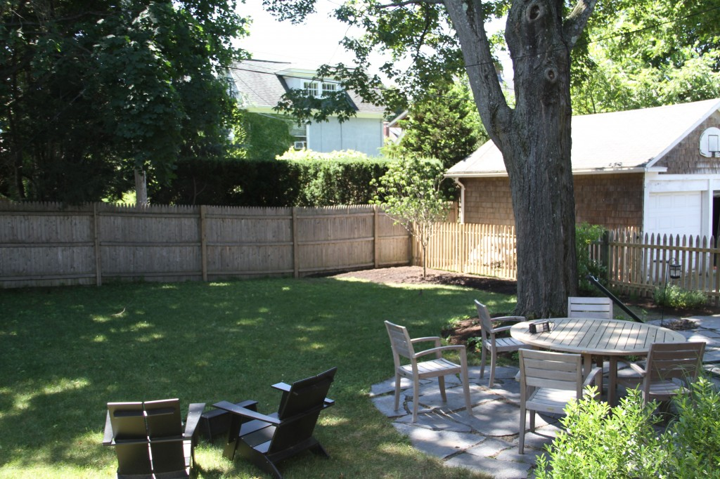 The finished yard, looking toward Bec's tree.