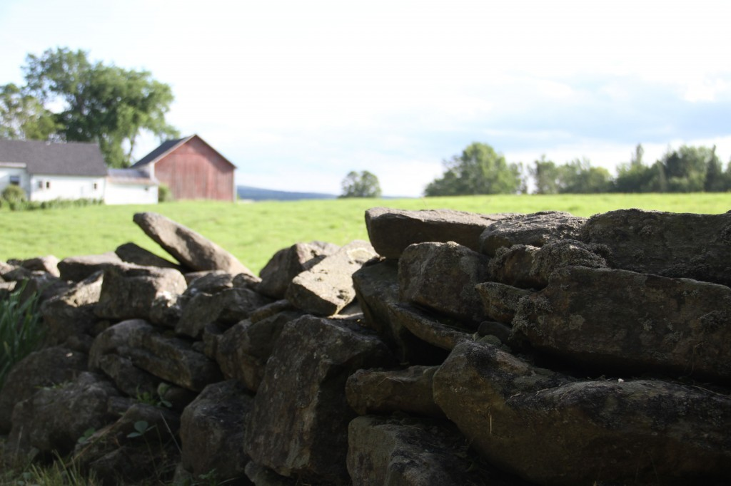 A New Englander's dream: farmhouse, stone wall, field, mountains, trees... ahhh.
