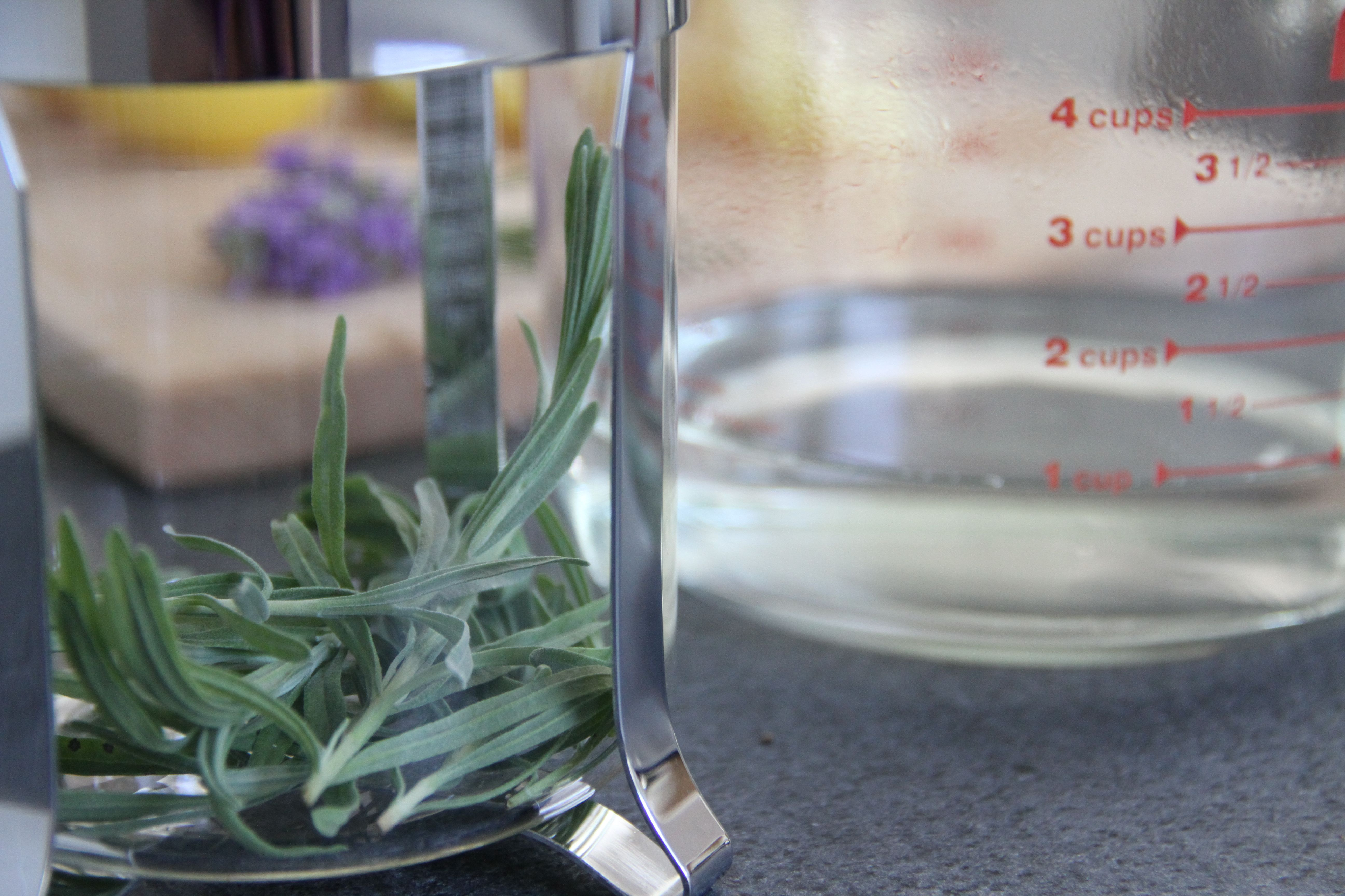 I used a french press to steep the lavender, but you can use a measuring cup by itself.