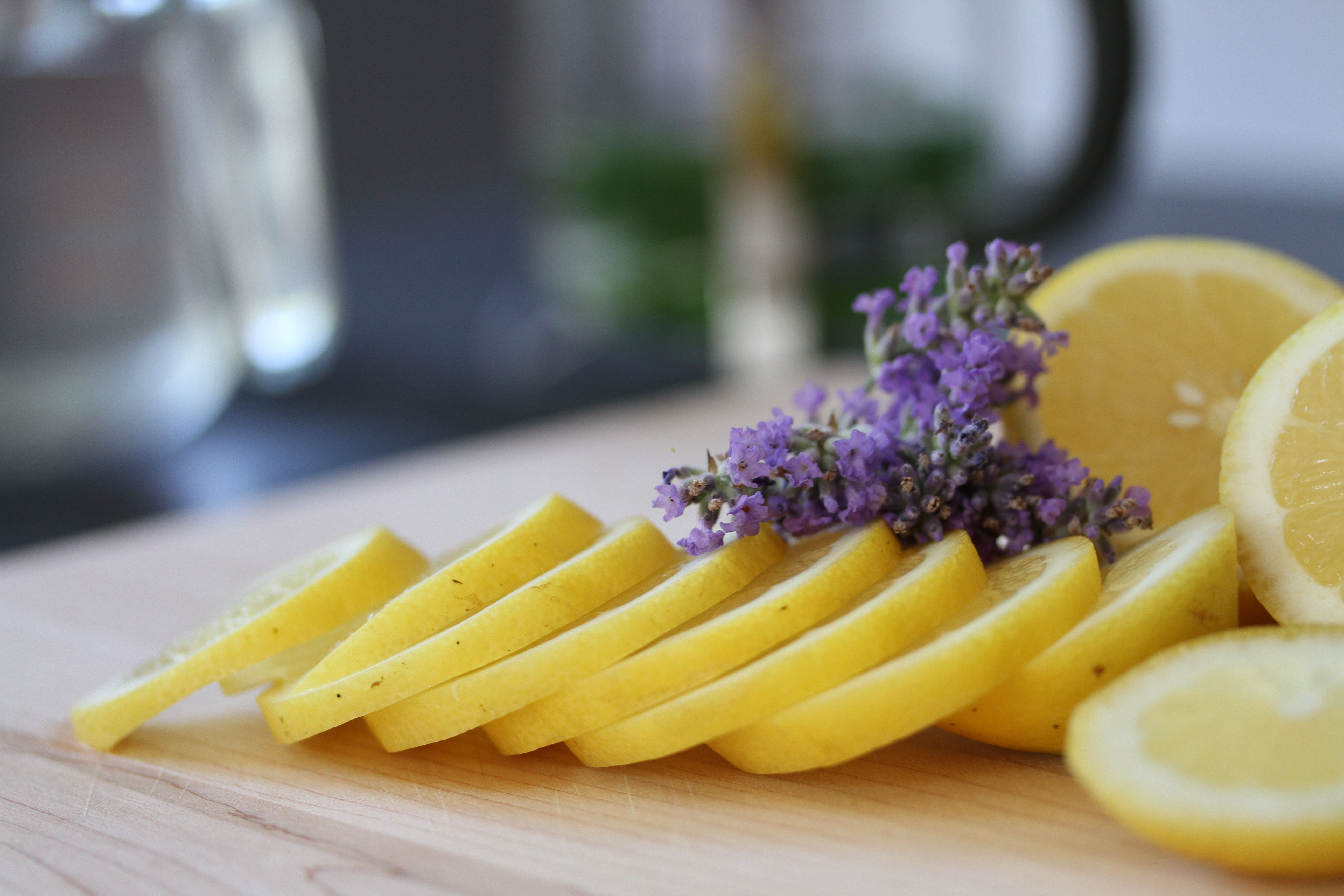 Some garnishes, using lavender blossoms from the yard. Lovely.