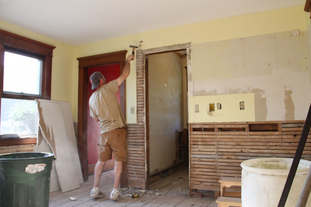 Jonas began the day by continuing with deconstructing the former opening to the powder room.
