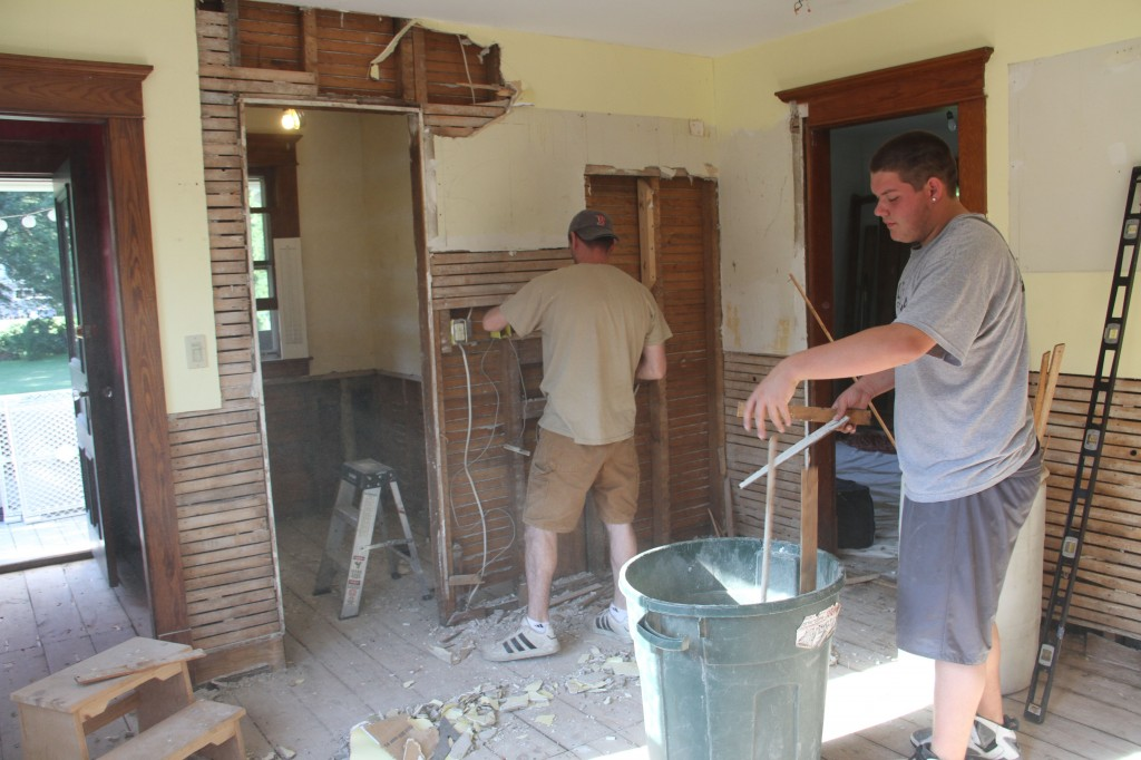 Of course opening up that doorway meant demo-ing the rest of that plaster and lathe on that wall, too.
