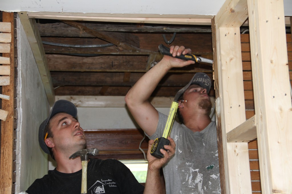 Dave and Brian framing up the new ceiling. Best part of this is that Brian is also a drywall installer and can frame the space for exactly where he wants seams later on. Love the advance planning.