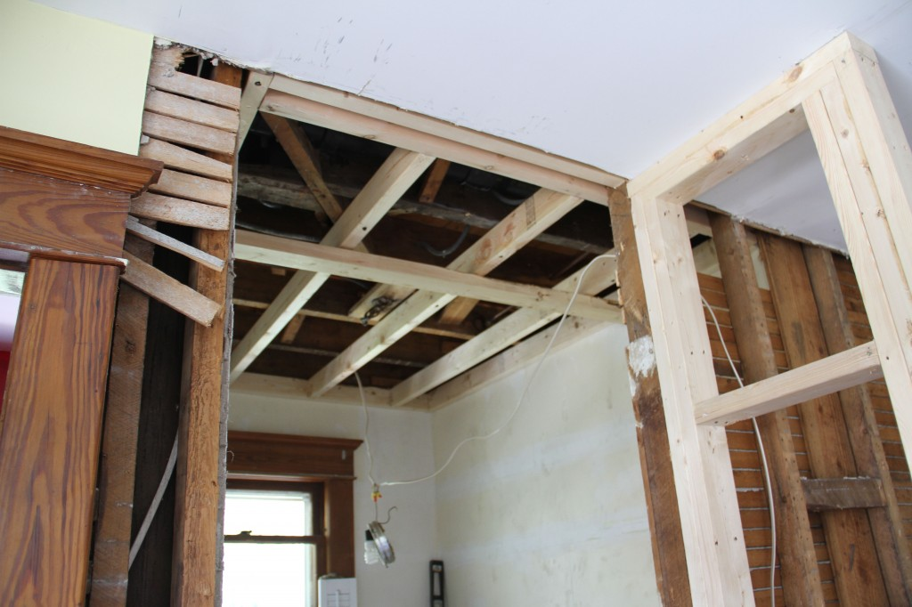 Ceiling framed up, wall to powder room in place an awaiting approval from Mrs K.