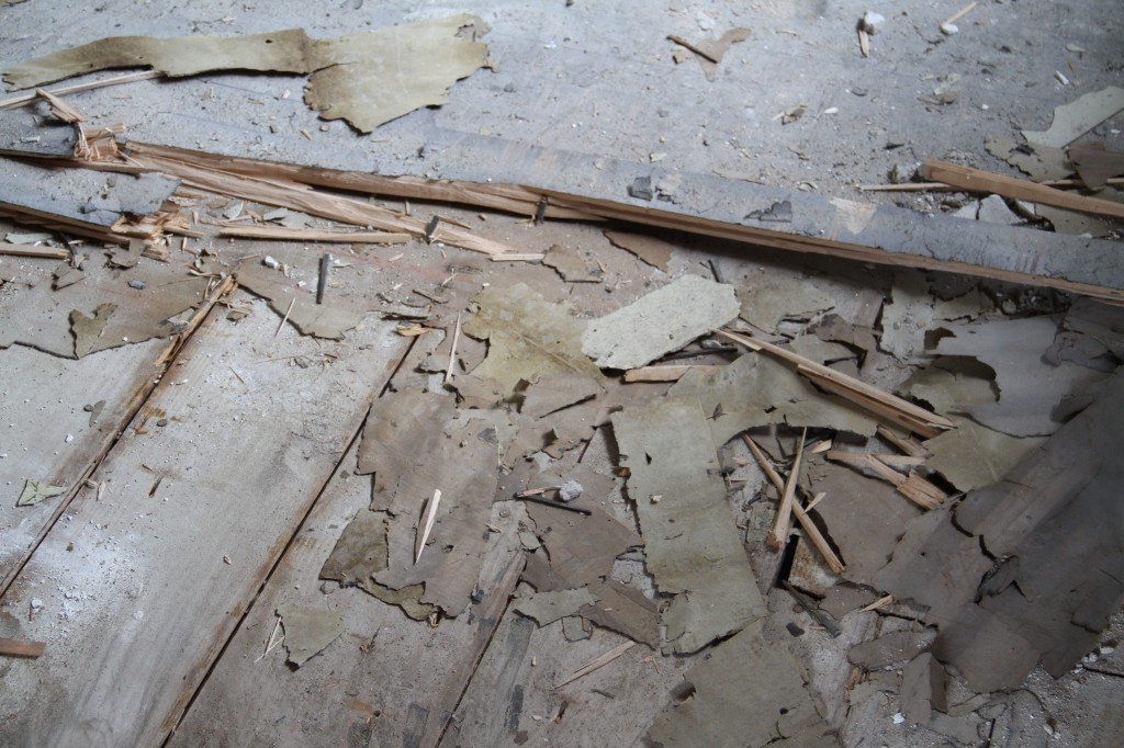 So up the flooring went. Paper debris, nails, splinters, dust - everything was flying around in there.