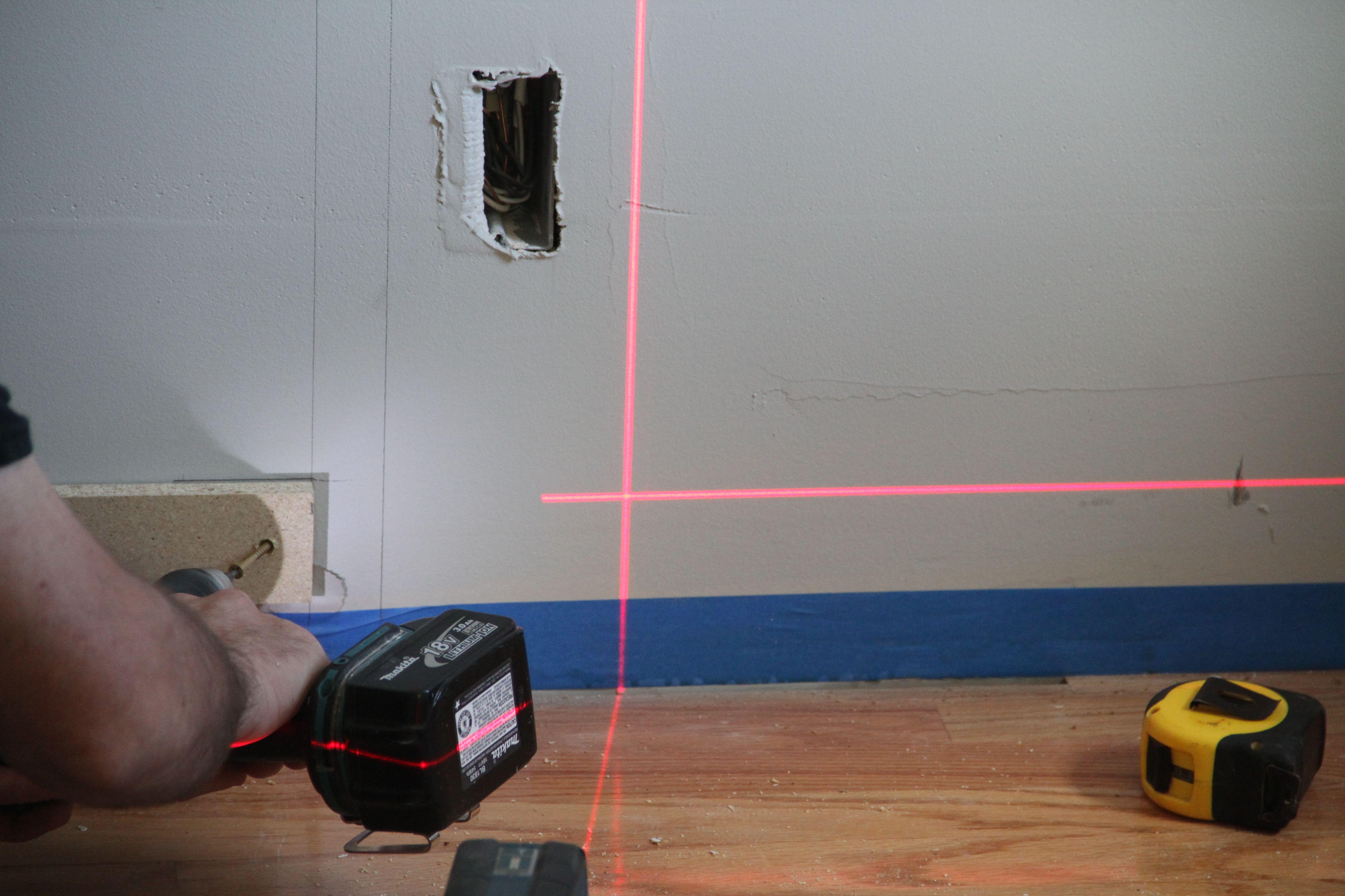 Jonas' favorite new toy: the laser level.