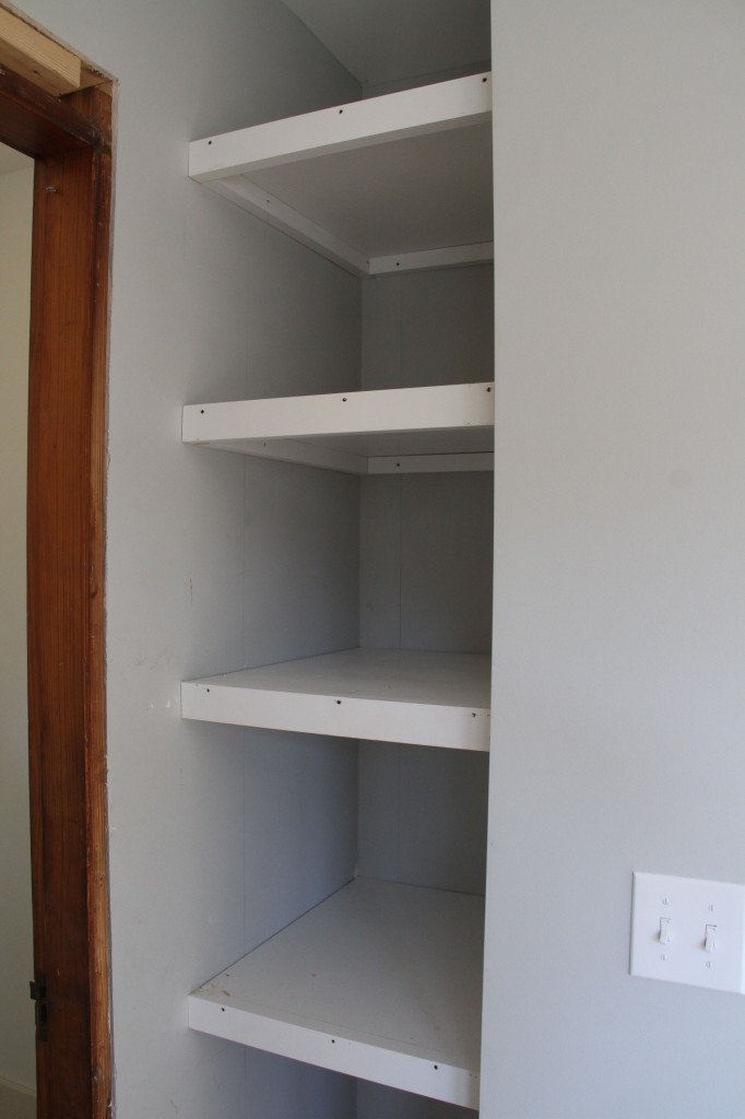 Built-in pantry, formerly a portion of the powder room. We took that space back because the kitchen needed it.