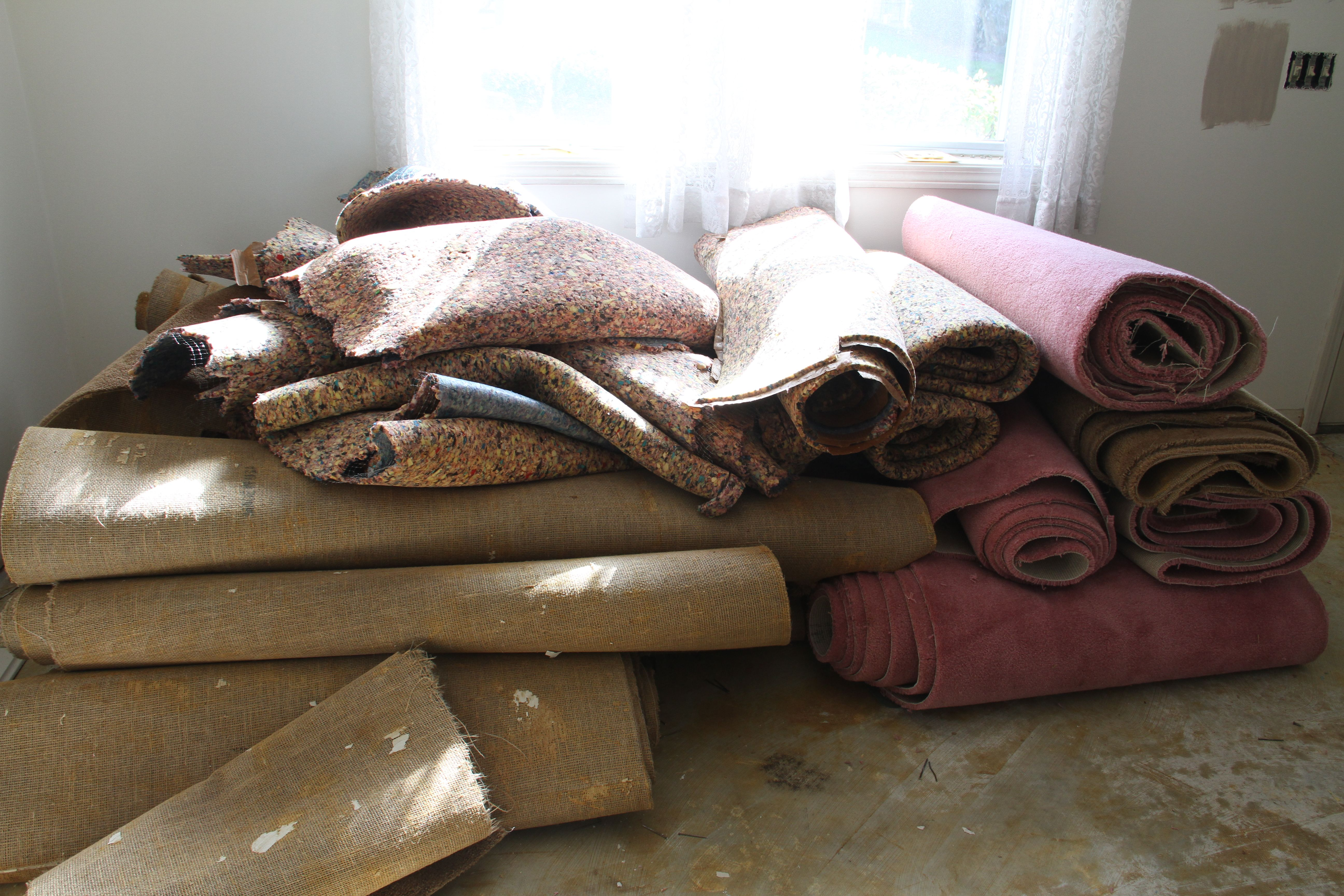 Condo: Fozzie bear brown and dusty rose carpeting that smelled like 30+ years of pet ownership just had to go.