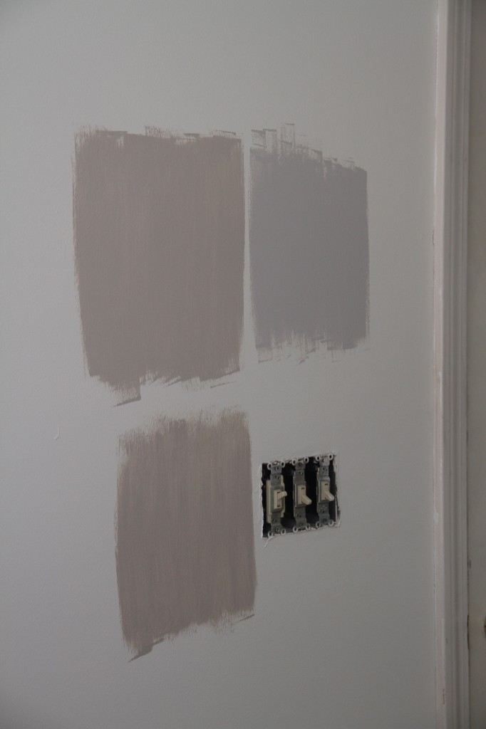 Condo: paint colors were sampled. We arrived at the grey-ish one on the upper right for the living space.