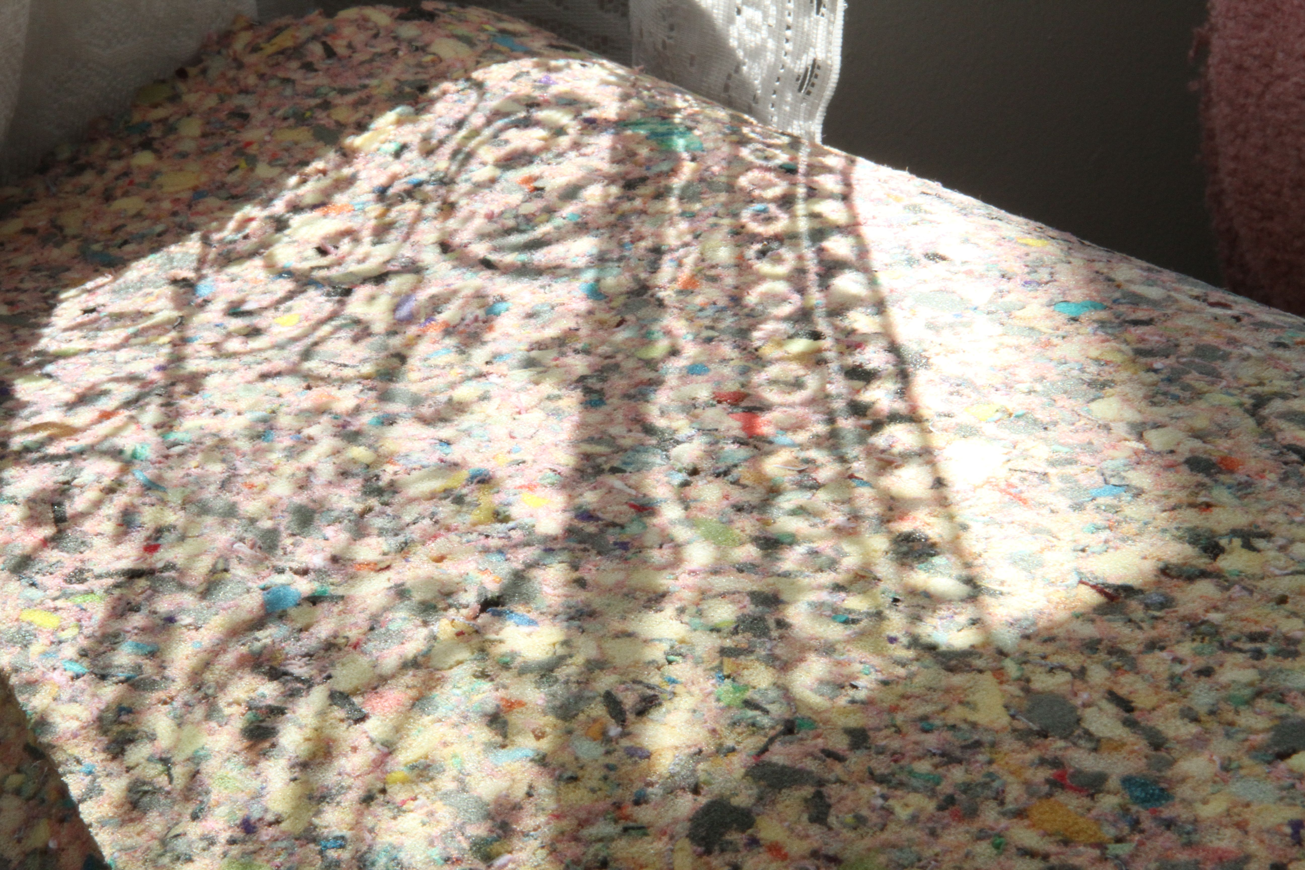 Who would have ever thought that polyester lace and recycled foam carpet pad would make a pretty picture?