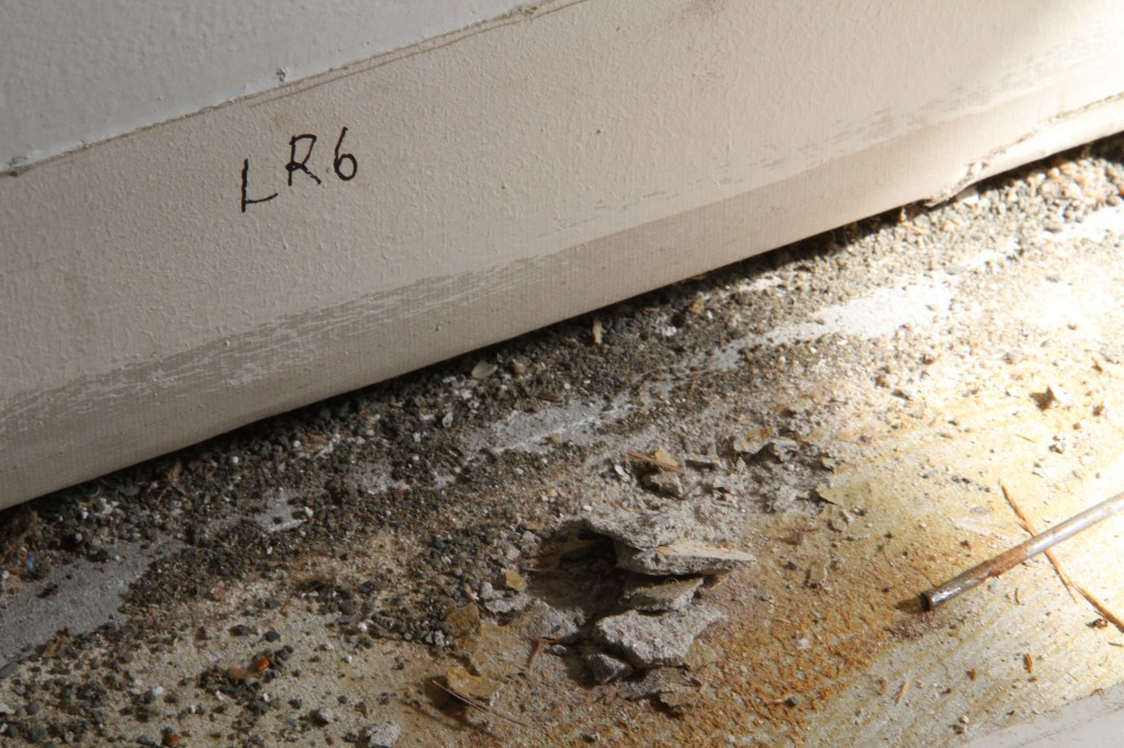 Each baseboard molding had to be labeled, as did its corresponding place on the wall, so that we can reuse them again.