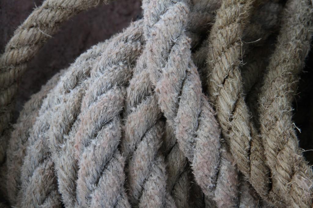 Beauty shot: this is the rope that they used for the pulley system. Love that dusty, stoney, chalky look it has.
