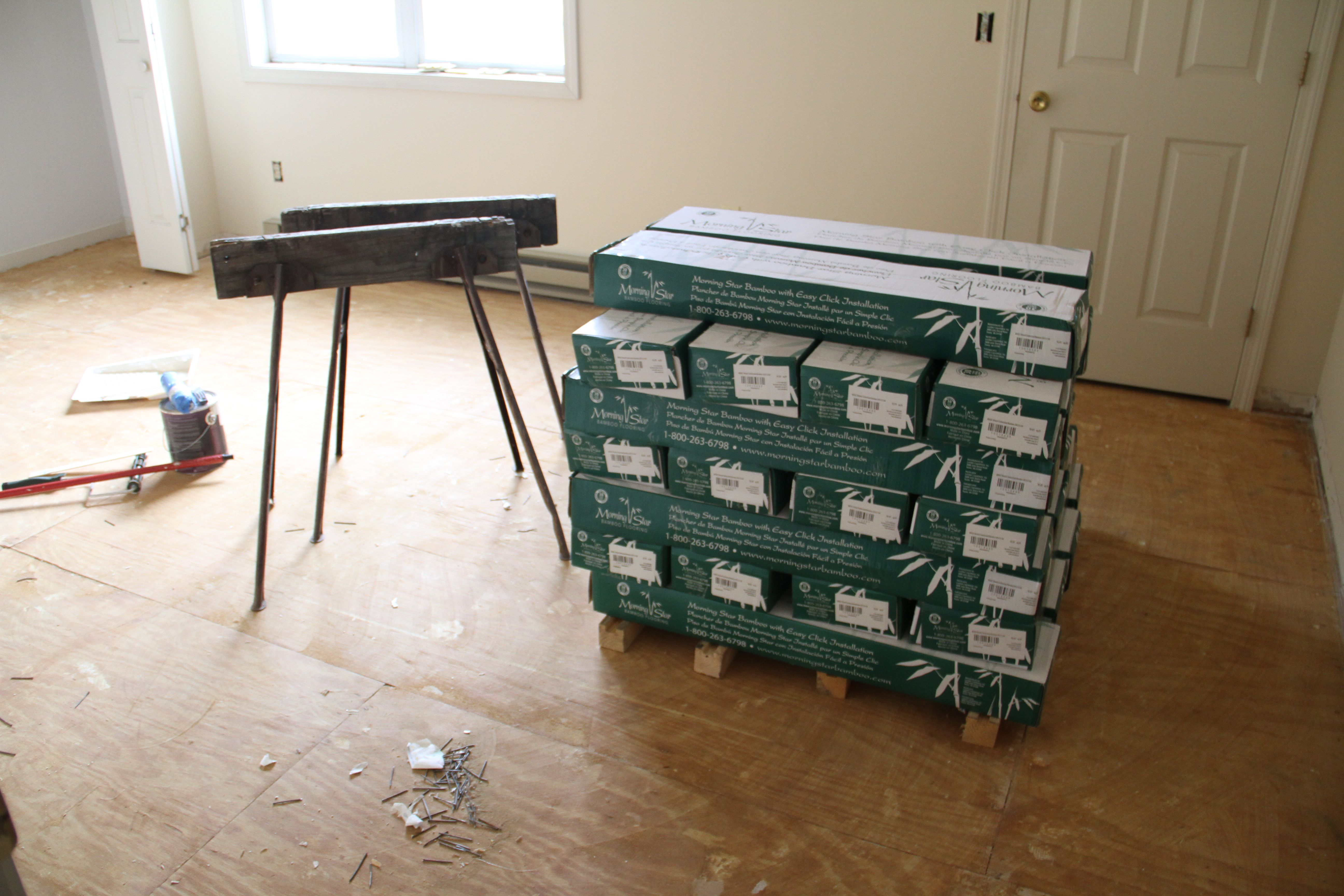 Half of the flooring had to be placed upstairs to get acclimated. Thanks to Jeff and Paul for hauling it up there.