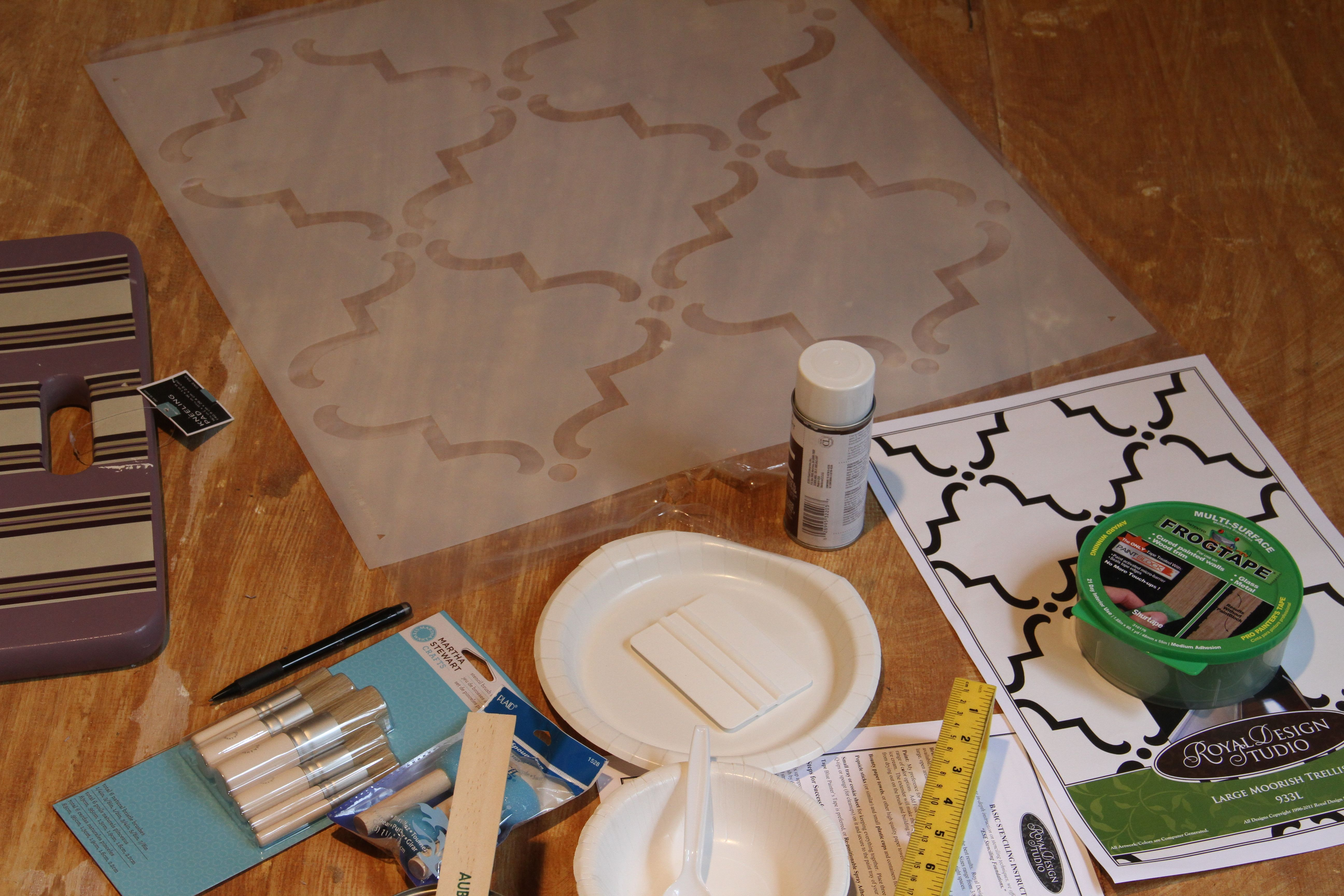 My stencil, and accoutrements. Mom wanted an eclectic mix of styles, one of which being Moorish, northern African inspired. So, repetitive scrolly geometric shapes it is!