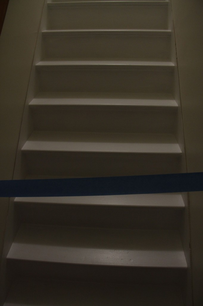 The velvet rope. Or rather, the blue tape indicating that the stairs are wet. A few more coats, and a few more days to go...