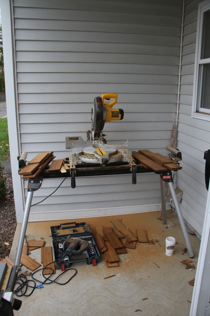 Dave's mini-workshop, number one. The only place with an overhang was in the front of the condo. I'm sure all the neighbors were annoyed and curious. I'm sorry and you're welcome.