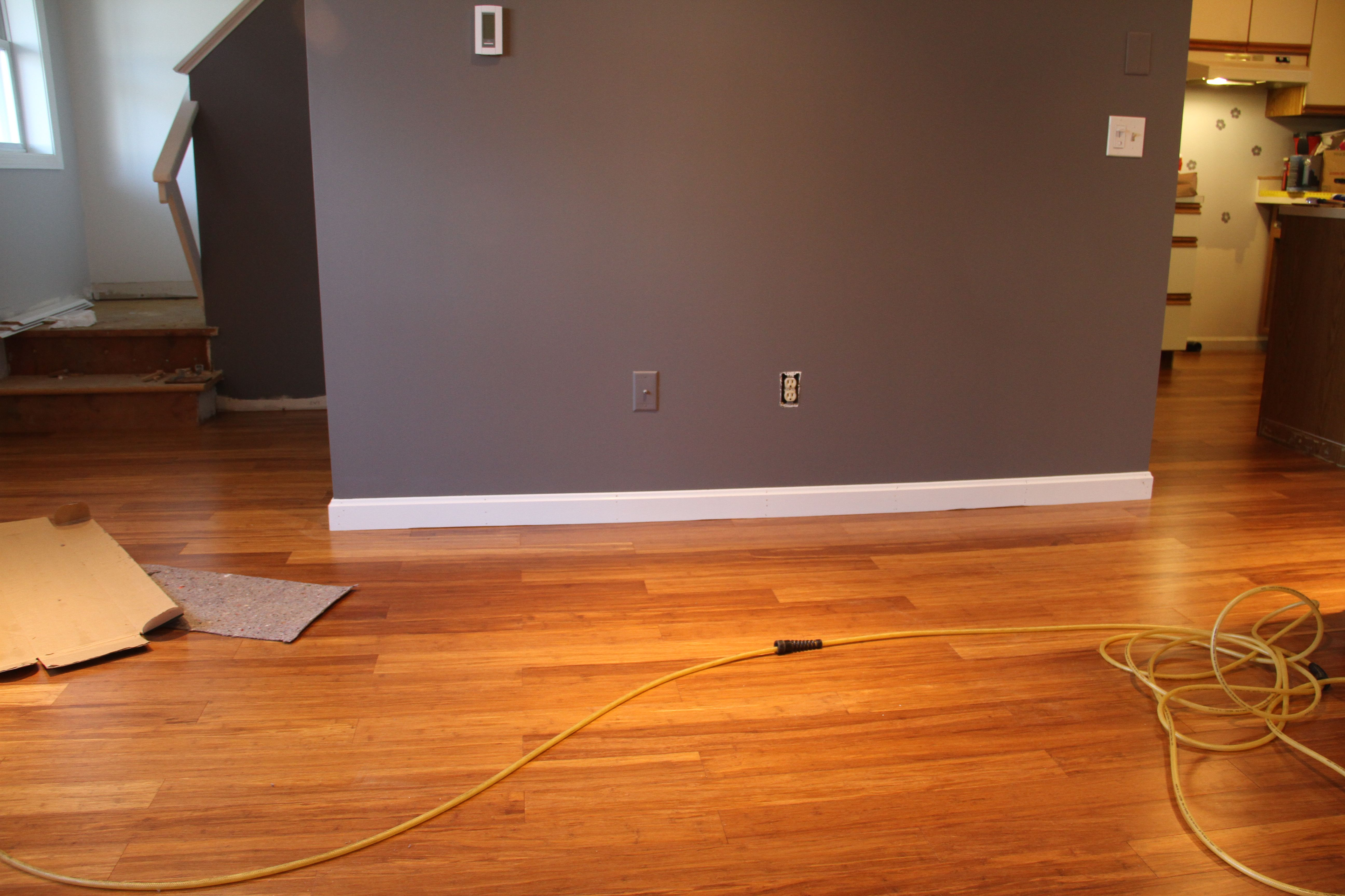 This wall is where the TV will go. The floor color, the wall color, the drama. Love it.