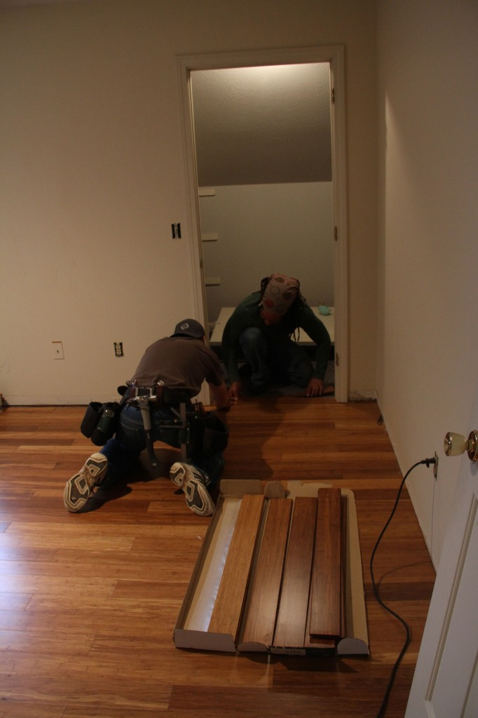 They worked together to get the rest of the flooring done (though Dave, Brian & Jonas got  nearly 750+ sf done in one day).