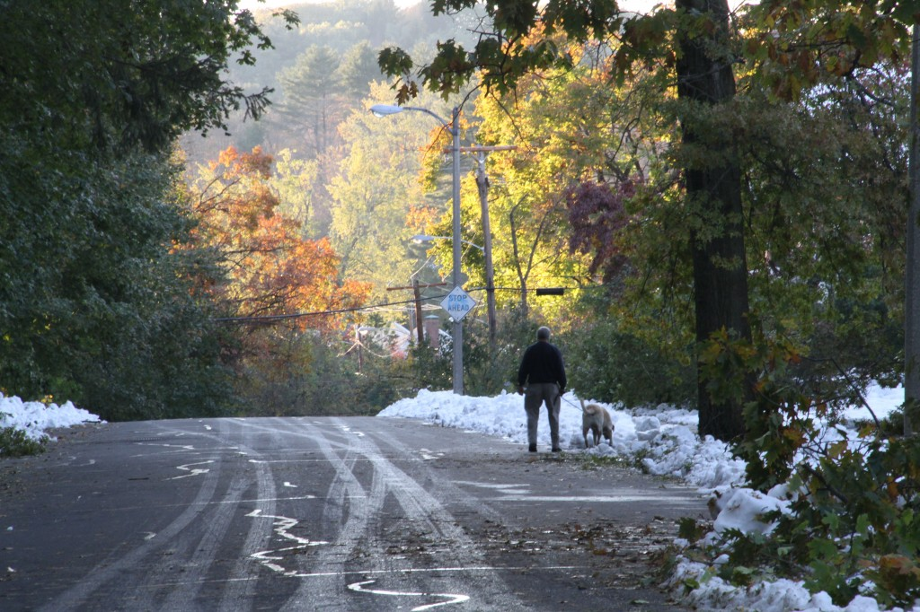 And other than the snow, this looks like a typical fall day in New England.