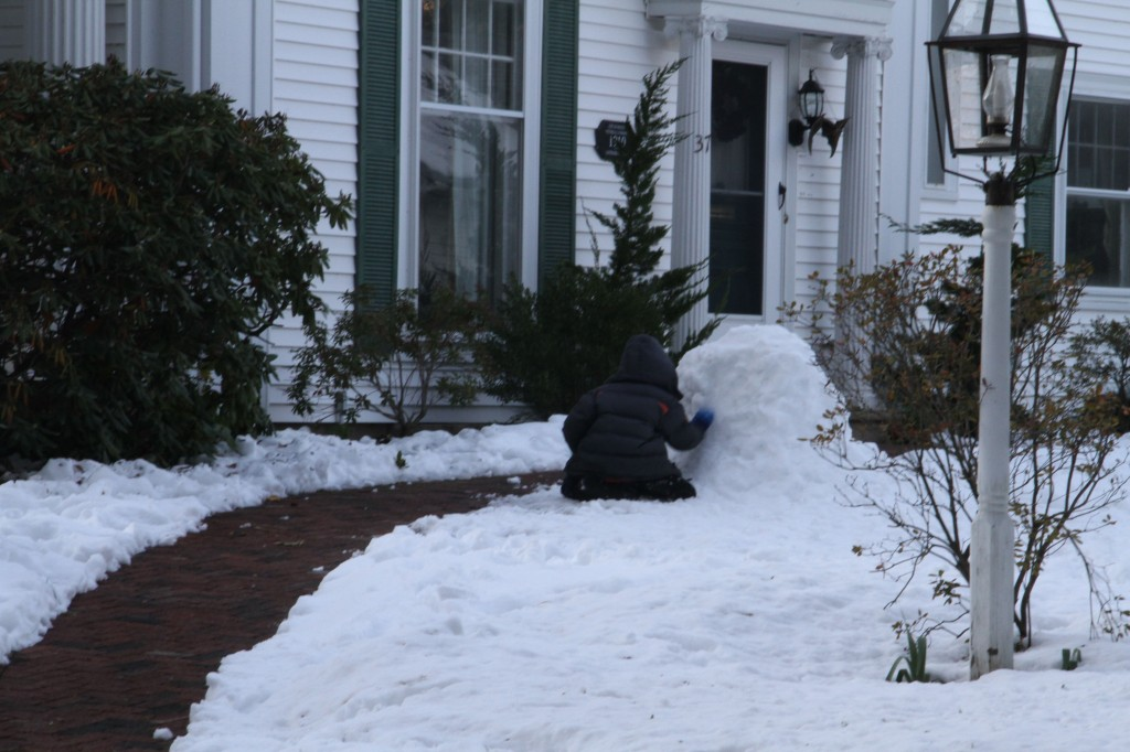 Typical but for the random neighborhood child building a snowman.