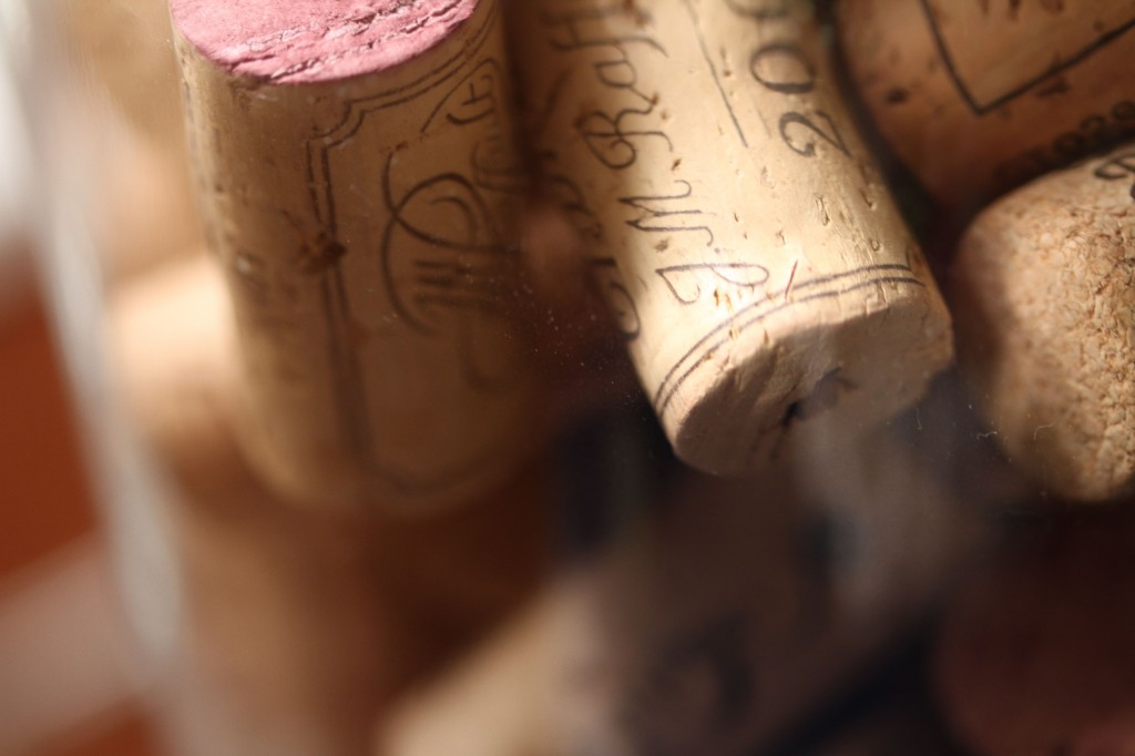 Beauty shot: corks, up close and personal. I wanted to add some blonde color, and some texture and these sentimental and innately beautiful corks seemed to fit the bill.