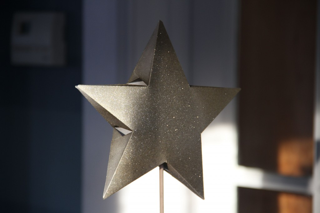 "My star. When I was in 2nd or 3rd grade I ""figured out"" how to make this (I thought I had invented something amazing). The star is merely resting on one of the dowels I had for the trees - it stands alone and slips around the top of the tree when used as a topper."