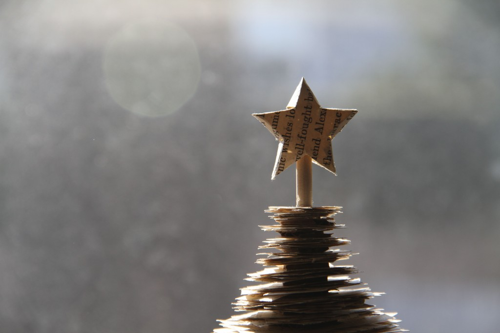 I also made a teeny, tiny star for my tree. Actually, I made this one before the big one. Just making it again once was enough to make me want to recreate my childhood idea with more skilled, adult hands.
