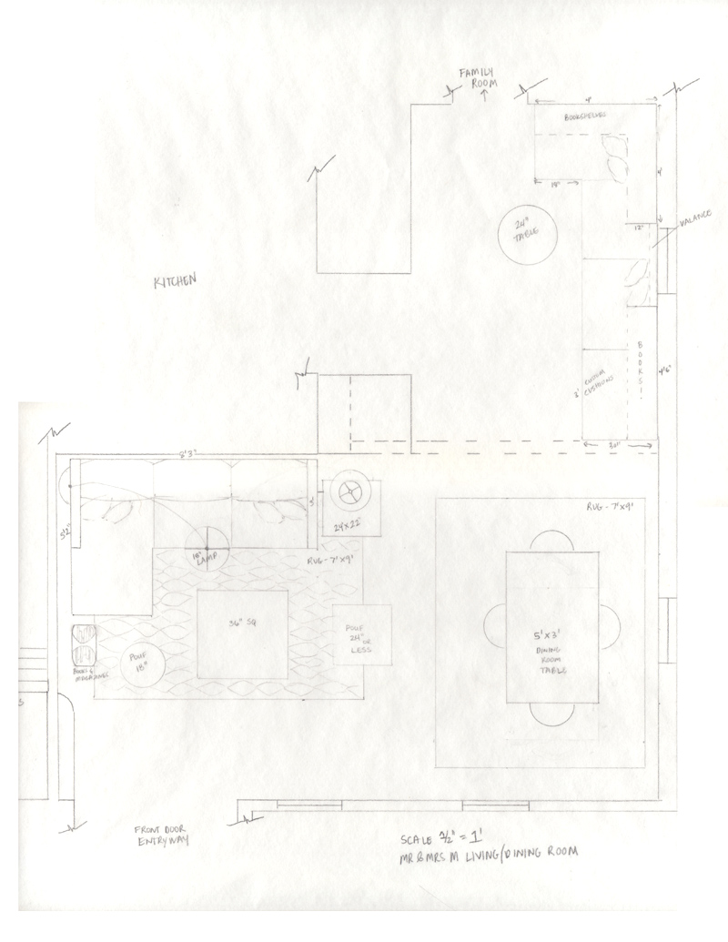 An overhead floorplan view of the space as it exists and the proposed furniture arrangements and built-in plans.