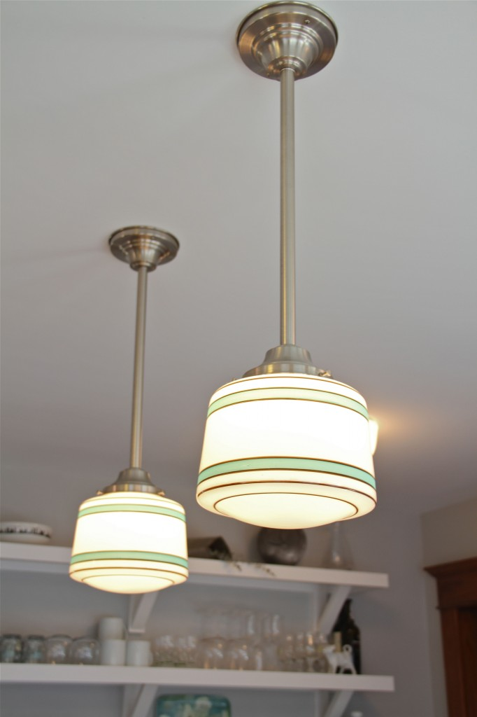 AFTER: Mr and Mrs K knew they wanted Schoolhouse light fixtures, and these provided a jumping off point for the design.