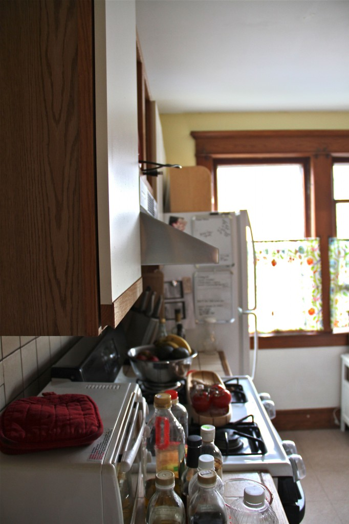 "BEFORE: A look at the light-stealing refrigerator and the tiny 18"" bits of prep space on either side of the stove."