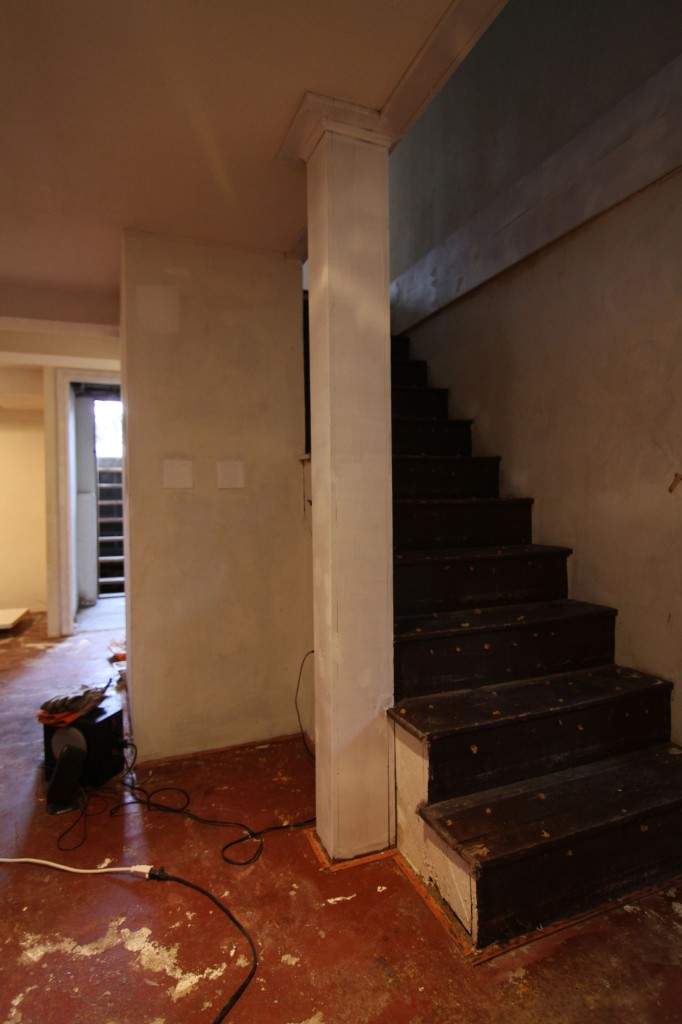 The original staircase color was dark brown. I felt instantly as if the stain color we chose for the main level was in keeping with this original spirit of the house.