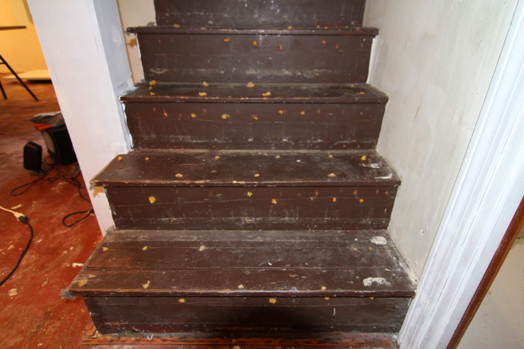 We're seriously considering pulling all the staples, filling the holes and gaps and painting these for easier clean ability. What do you think? Do you prefer painted or carpeted stairs in the basement?