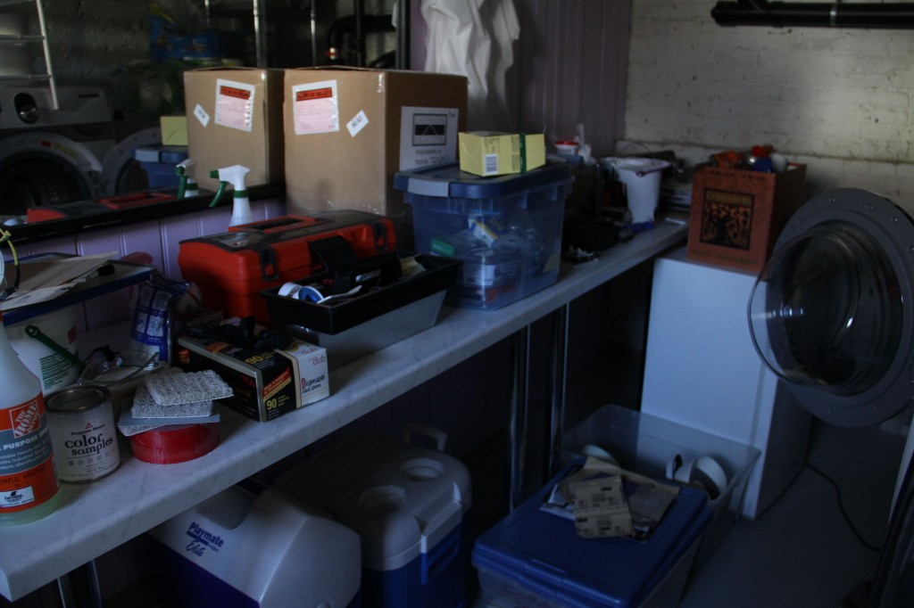 DURING: And, sadly again, my former glory of a laundry room is now tool storage. But only for a little bit longer. Woo sah... woo sah...