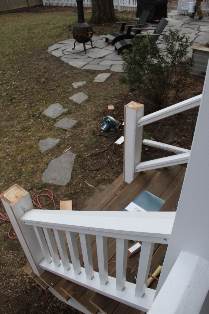 DURING: The steps lead to the little stone pathway that connects to the Ashfield stone patio we had installed in 2008(?).
