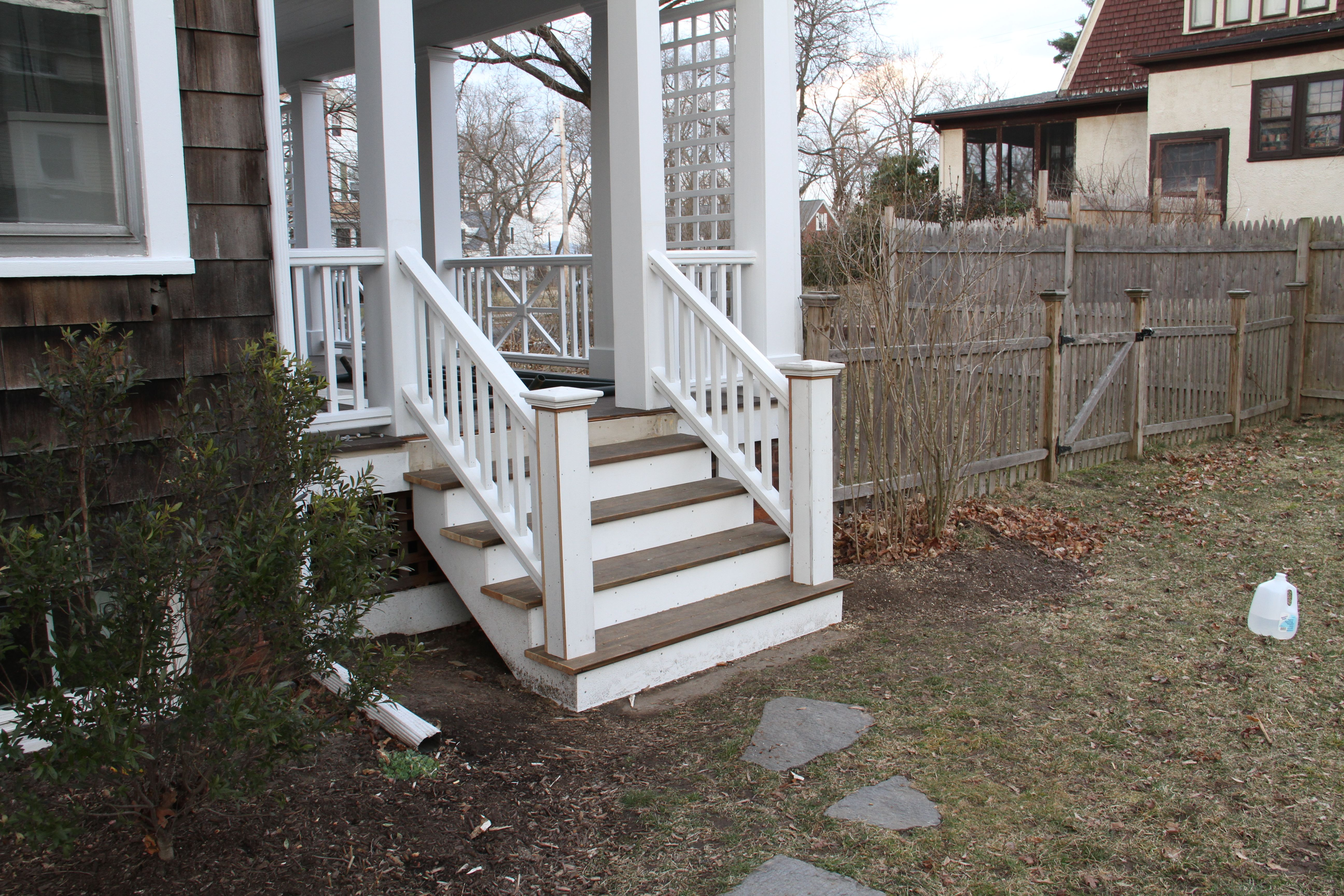 AFTER: Porch stairs, stately and open. I love them, again.