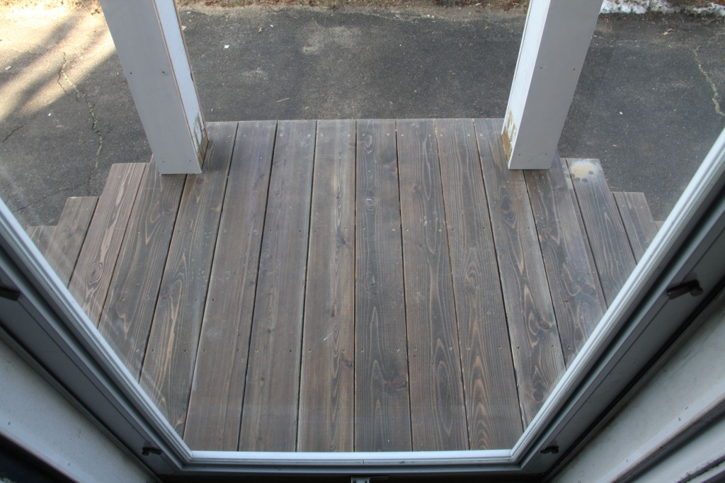 Ta-dah! Look at that! Red cedar decking, stained Burnt Hickory in Cabot exterior oil-based semi-solid stain.