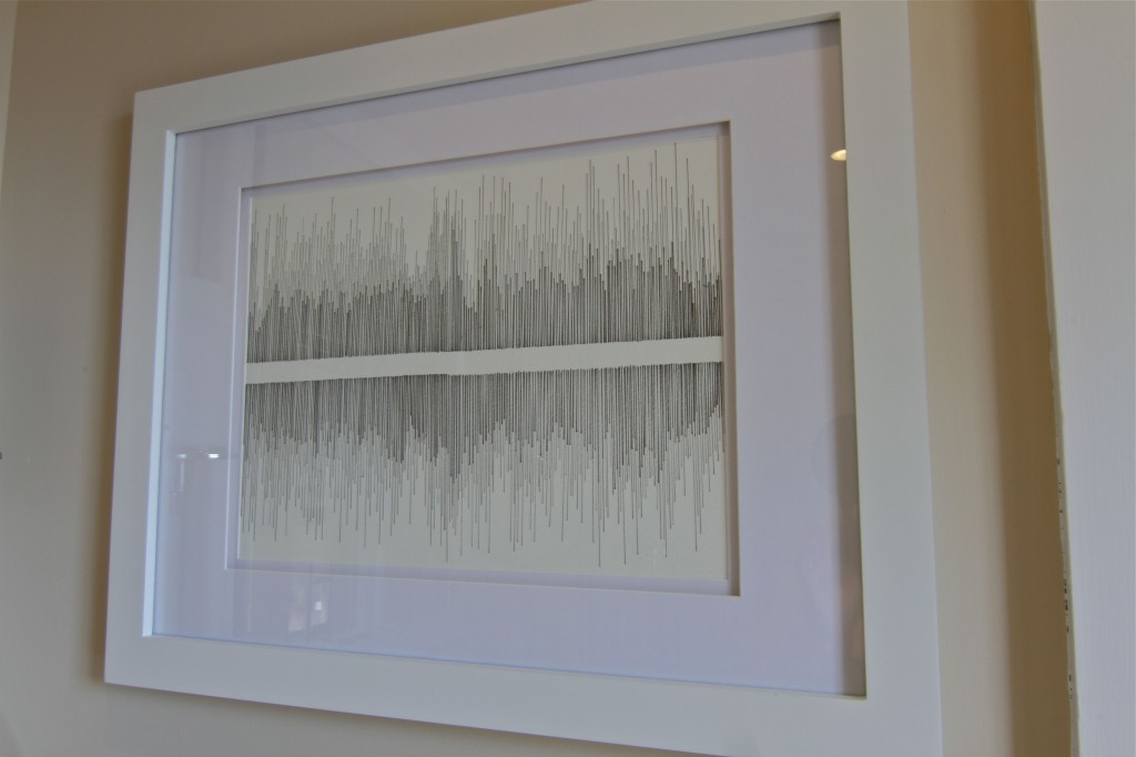This is my first piece. It reminds us of wave forms and music, so it's extra special to see. You must know by now that I love music.