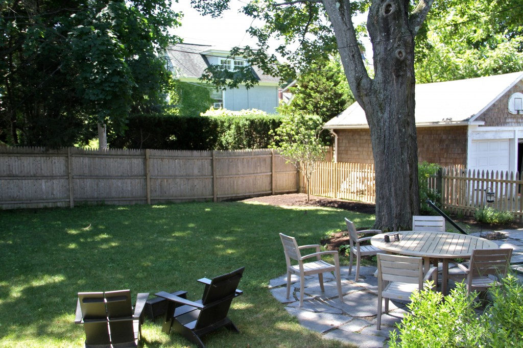 With the tree planted the yard had some much needed delineation. And when cleaning up the yard, it's easy to toss compostable scraps over the fence while not having to look directly at them.
