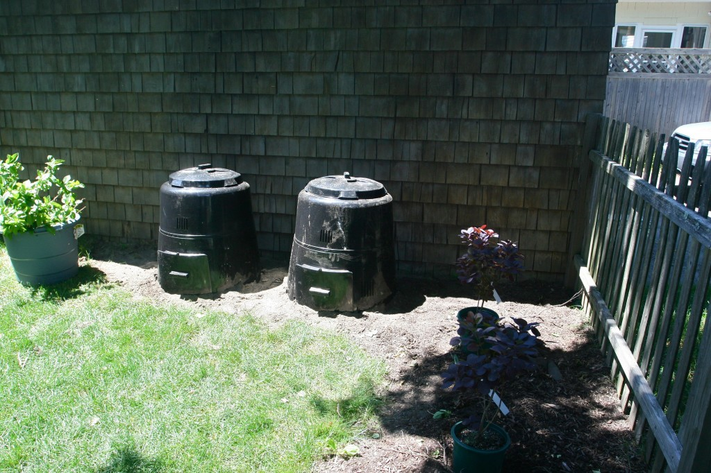 Ok, so here's a BEFORE up close. When we first put the bins in we thought we'd hide them with bushes and shrubs.