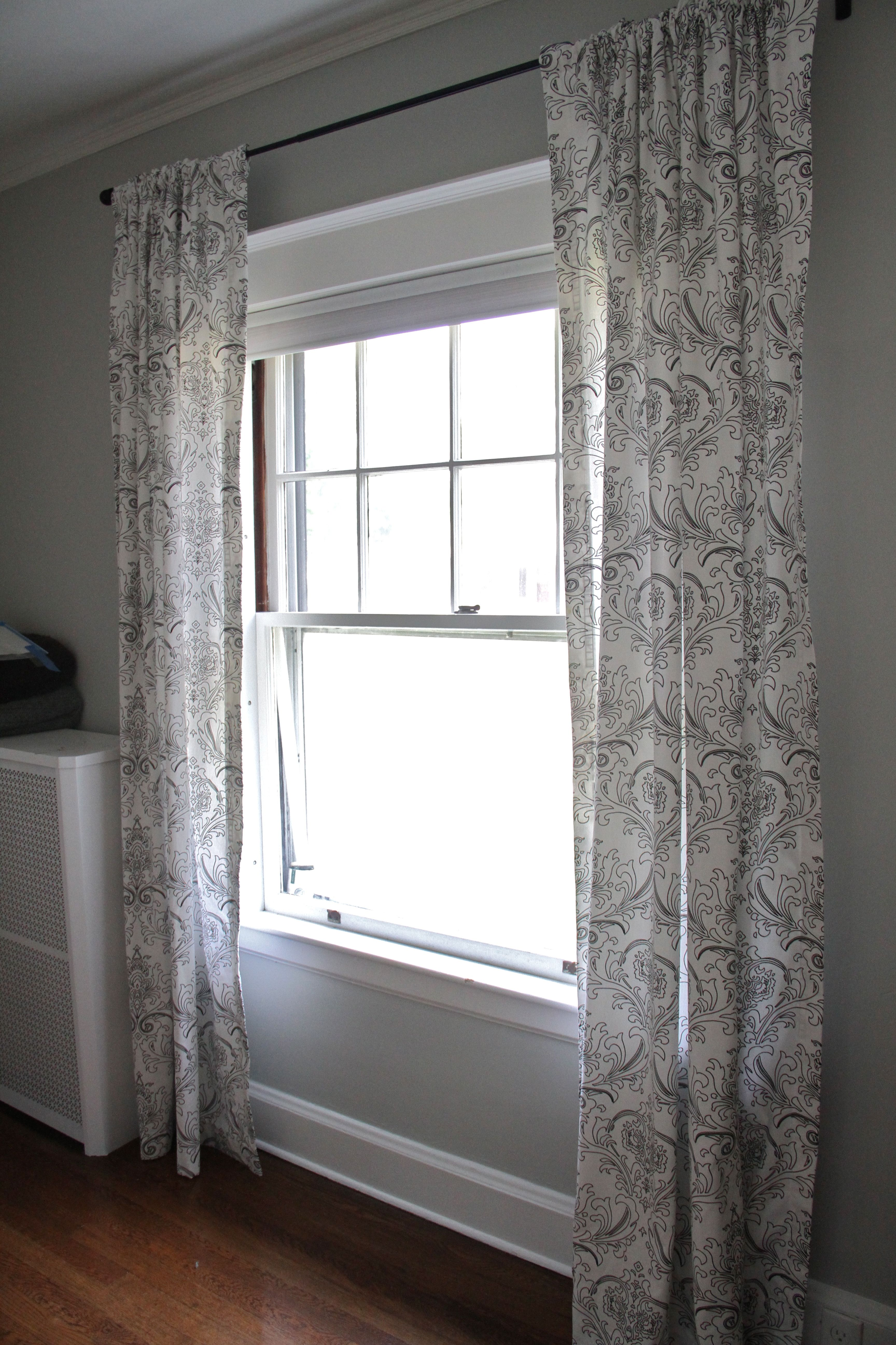 Here are the foyer/downstairs entryway panels. Are my curtains perfect? Certainly not! Am I still so proud, happy and excited that I did it myself? You bet your bippy, I am.
