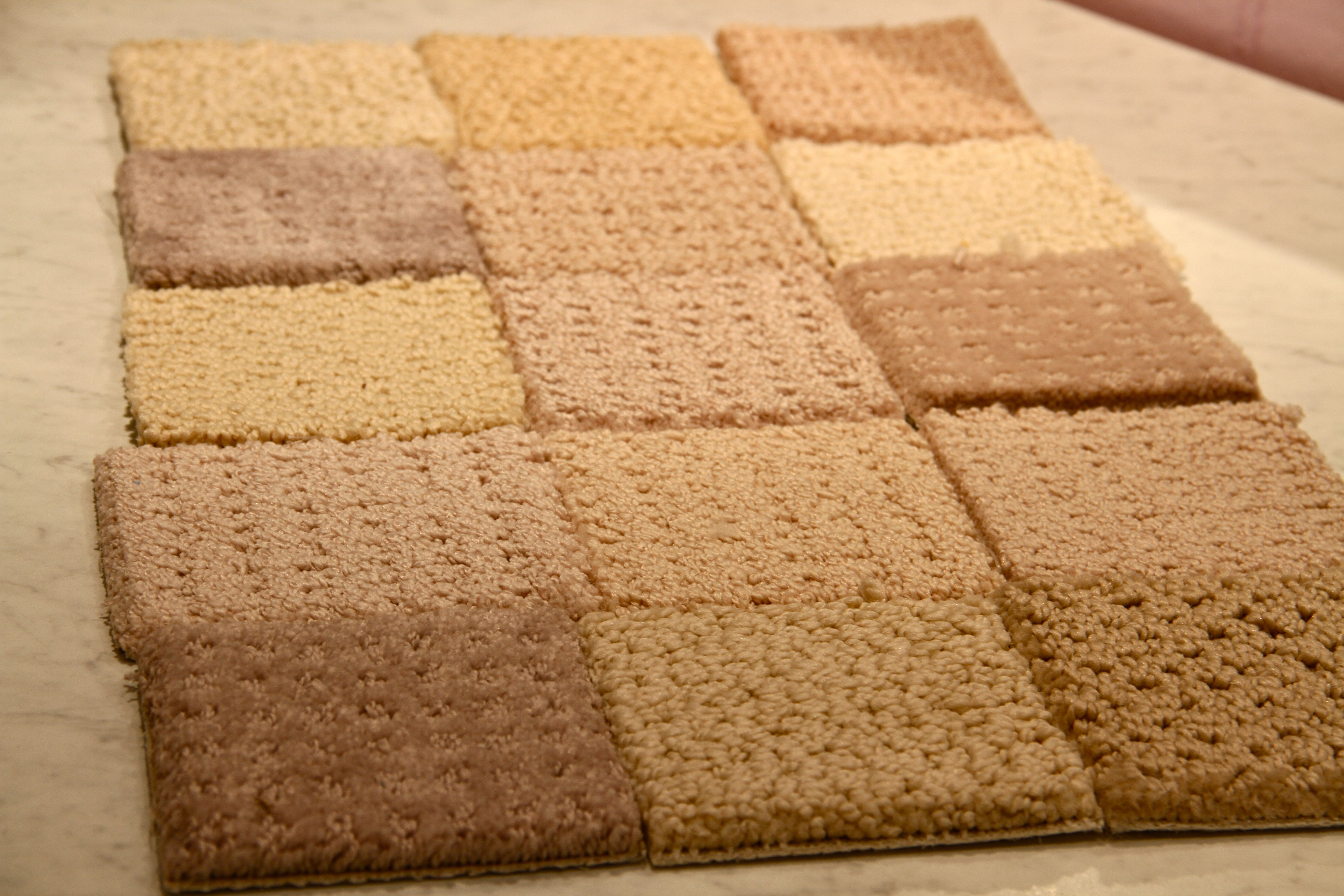 Seriously, we looked at all these samples, considered every one... the winning sample isn't even in this little grid. Eventually, we chose and ordered carpet.