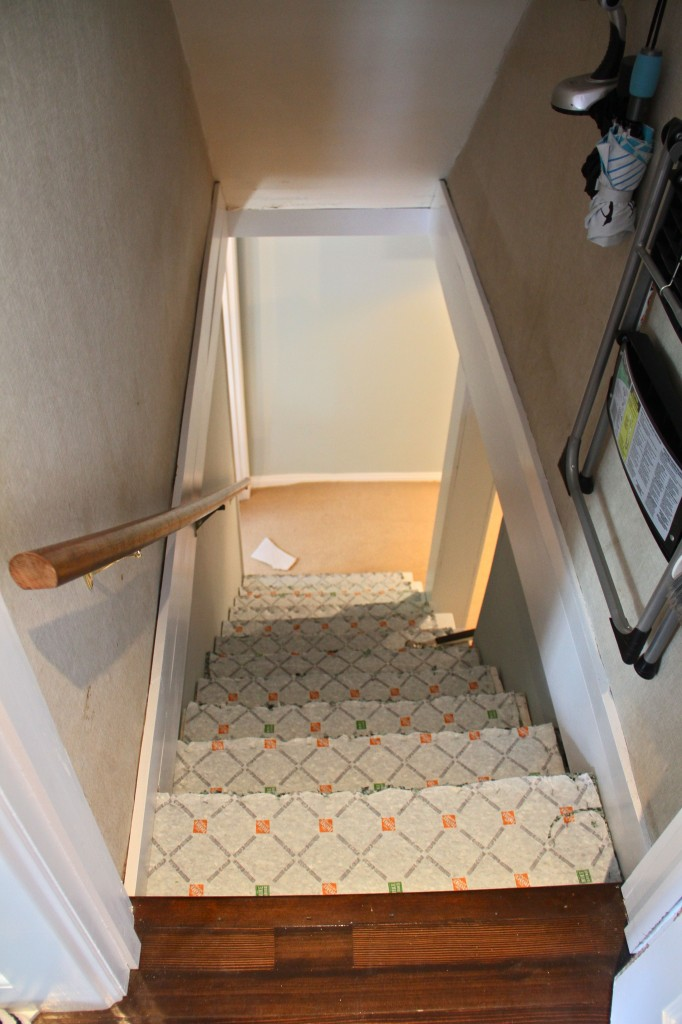 DURING: I was excited when I could already see carpeting going down at the foot of the stairs.